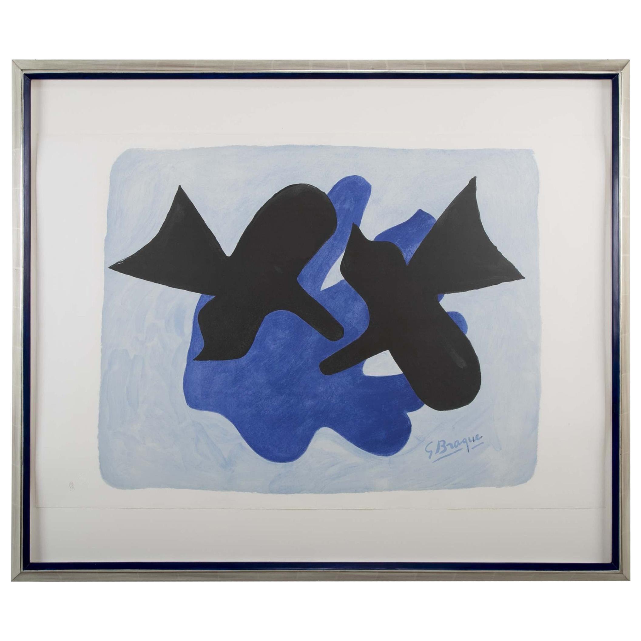 """Lithograph Titled """"L'astre Et L'oiseau ii"""" After Georges Braque"""