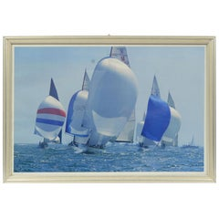 Lithograph with Frame of a Photo by Daniel Forster of 2001 America's Cup
