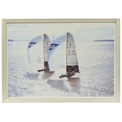 Lithograph with Frame of a Photo by Ivor Wilkins of 2001 Hauraki Gulf, Auckland