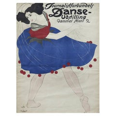 Lithographic Poster, Dance Exhibition by The Danish Association Of Journalists