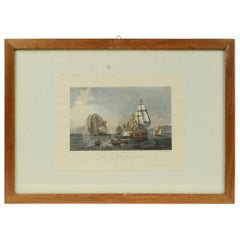 Antique Lithographic Print of the Diamond Rock Battle Early 1900s, Oakwood Frame