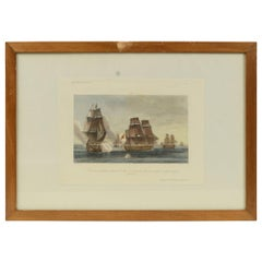 Lithographic Print of the French Frigate Minerva, Early 1900s, Oakwood Frame