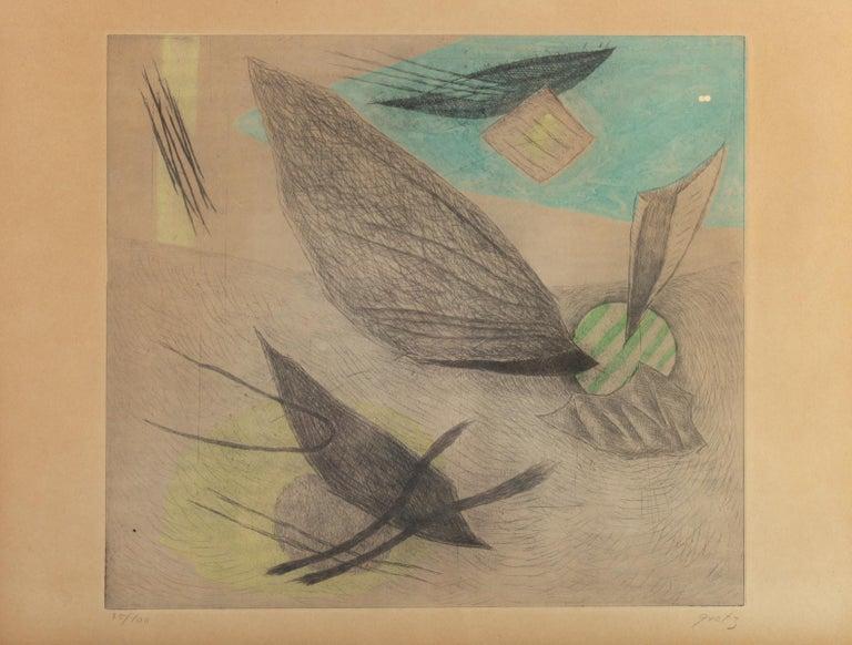 Lithography by Henri Goetz, 50/100, signed. Measures: H 29 cm, L 39.5 cm, W 1 cm.