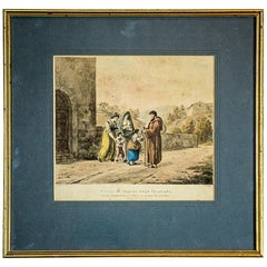 Lithography Depicting Women with Children and a Monk, circa 1820