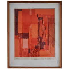 Lithograph in Red and Orange Colors by Hugo de Soto