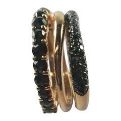 Lithos Collection 18 Karat Rose Gold and Black Diamonds Trinity Ring