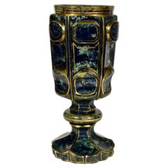 Lithyalin Glass Goblet, Unique, 19th Century, Engraved Gilded, Bohemian Glass