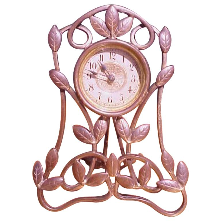 Little Arts and Crafts Mantle/Bedside Clock With Hand Formed Copper Leaves For Sale