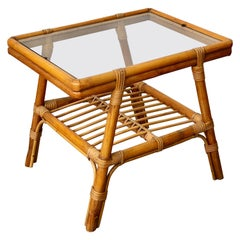 Little Bamboo Glass and Rattan Side Coffee Table, Italy, 1960s