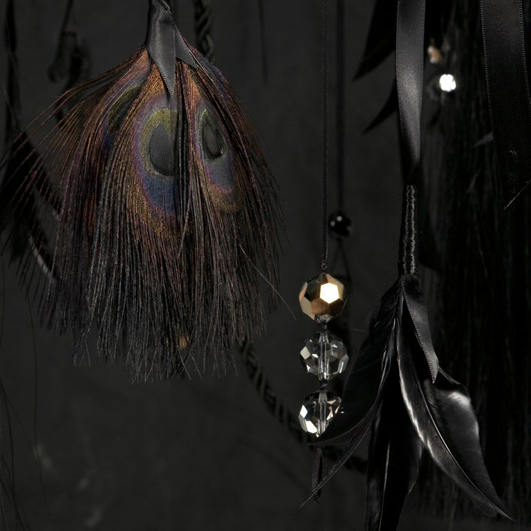 Little Black Chandelier, Bondage Leather Unique Light Sculpture In Excellent Condition For Sale In London, GB
