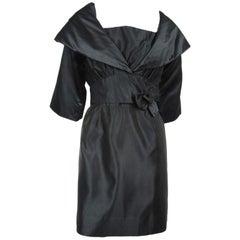 Little Black Dress Taffeta 1960s w/  Bolero Jacket Tina Rose