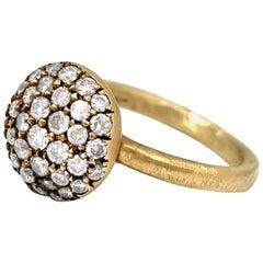 """Little Cookie"" Nugget Ring w/ 0.80 Carat Pavé Diamonds in 18 Karat Yellow Gold"