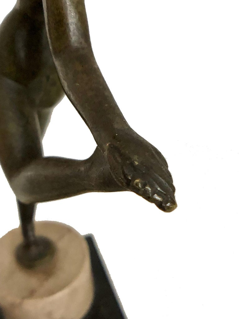 Little Dancing Bronze Sculpture, Art Deco, France, 1930s For Sale 1