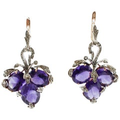 Little Diamonds, Amethysts, Rose Gold and Silver Level Back/Dangle Earrings