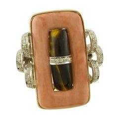 Little Diamonds, Coral, Dark Stone Rose and White Fashion Ring