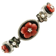 Little Diamonds Onyx Stones Red Corals Little Pearls White Gold Bracelet