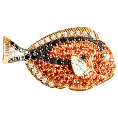 Little Fish, Diamonds and Orange Sapphires in Red Gold Brooch