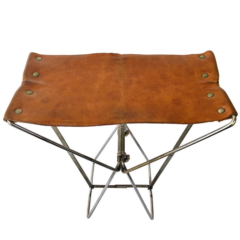 Little Folding Portable Stools in Brown Leather and Metal Industrial Style