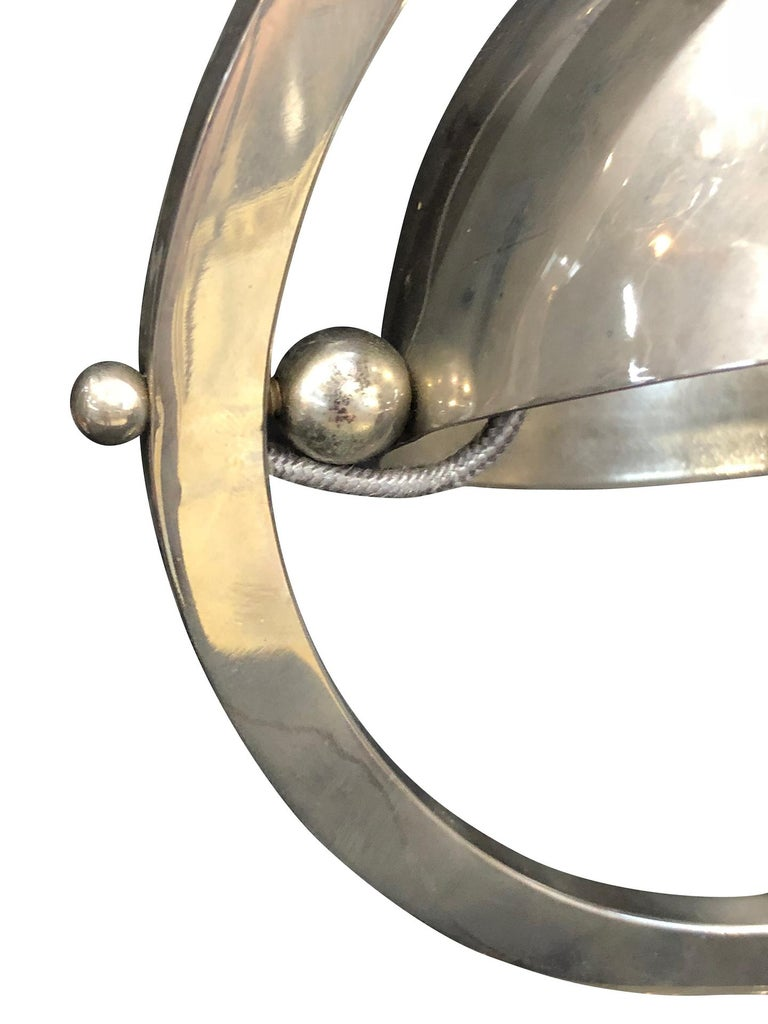 French Little Metal Table Lamp, Hemisphere in a Circle, Art Deco, France 1930s For Sale
