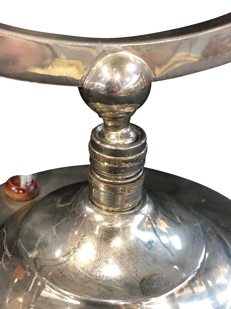 20th Century Little Metal Table Lamp, Hemisphere in a Circle, Art Deco, France 1930s For Sale
