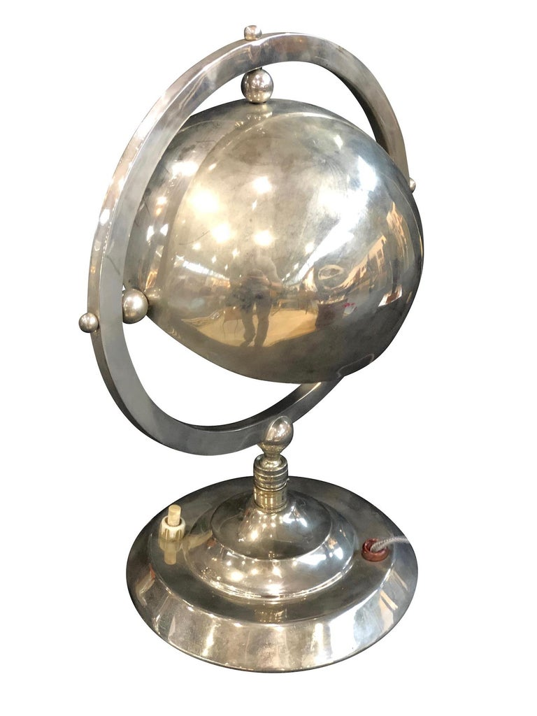 Little Metal Table Lamp, Hemisphere in a Circle, Art Deco, France 1930s For Sale 1