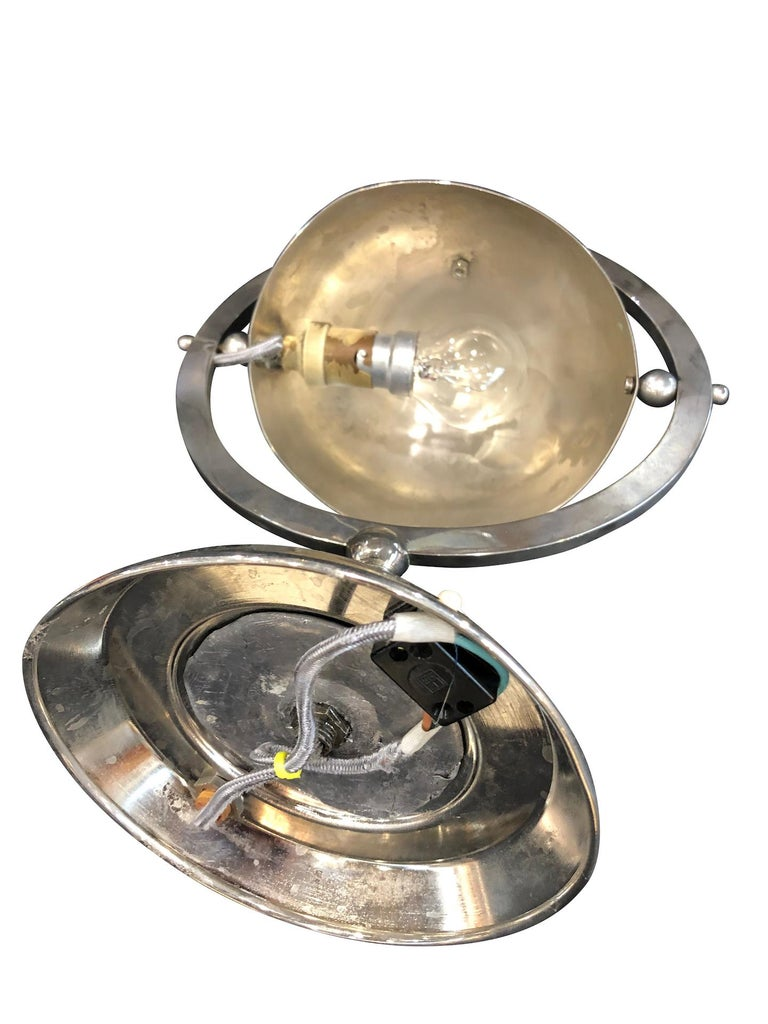 Little Metal Table Lamp, Hemisphere in a Circle, Art Deco, France 1930s For Sale 2