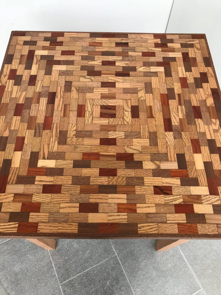 Mid-Century Modern Little Parquet Top Game or Dining Table For Sale