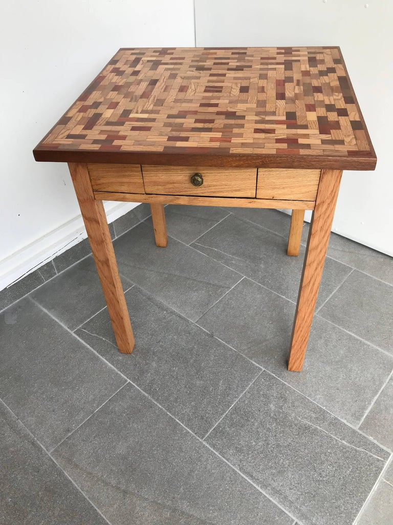 Parquetry Little Parquet Top Game or Dining Table For Sale
