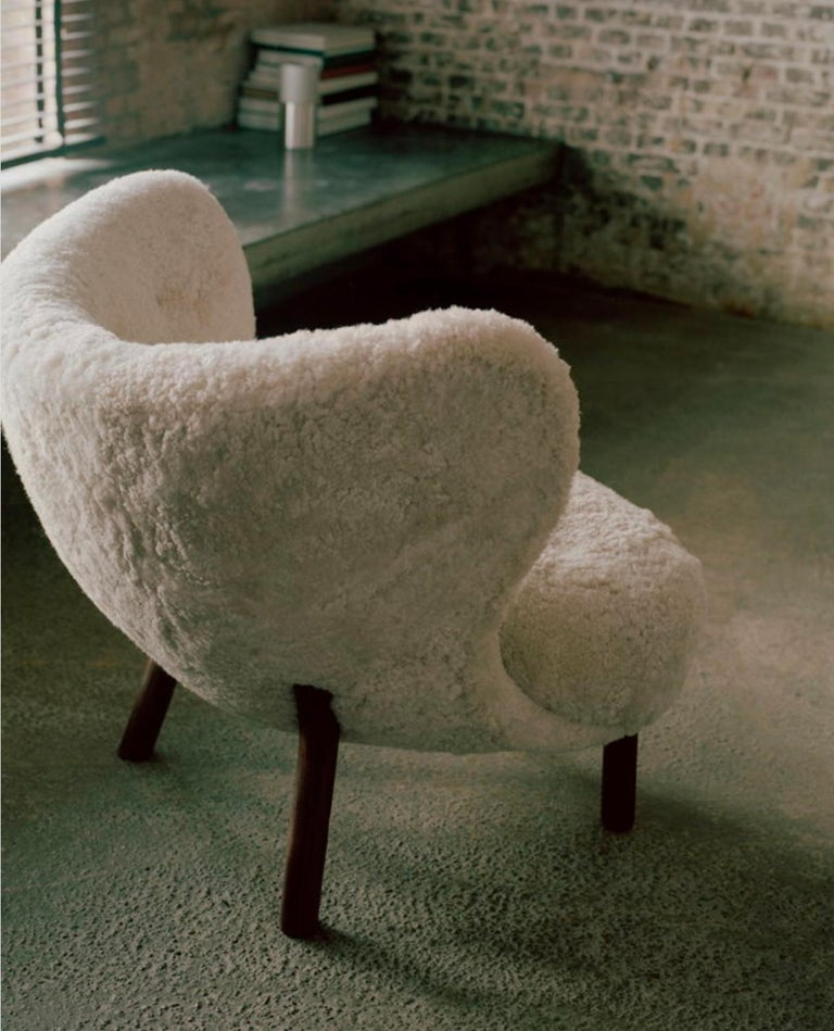 Scandinavian Modern Little Petra Lounge Chair in Sheepskin with oiled Walnut Frame by & Tradition For Sale