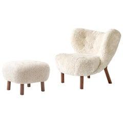 Little Petra Lounge Chair & Ottoman in Sheepskin with oiled Oak Frame