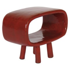 """Little Red"" Ceramic Rectangular Ring on 4 Legs"
