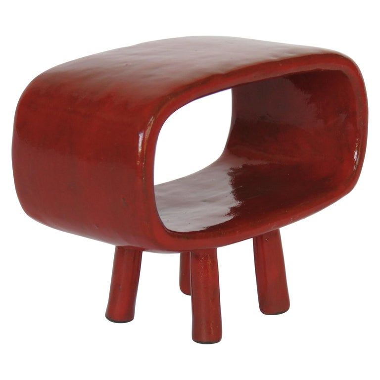 """""""Little Red"""" Ceramic Rectangular Ring on 4 Legs For Sale"""