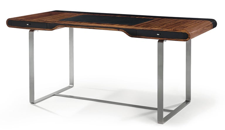 Contemporary Little Shanghai Desk in Olive Wood and Black Sycamore Silver Painted Leg For Sale