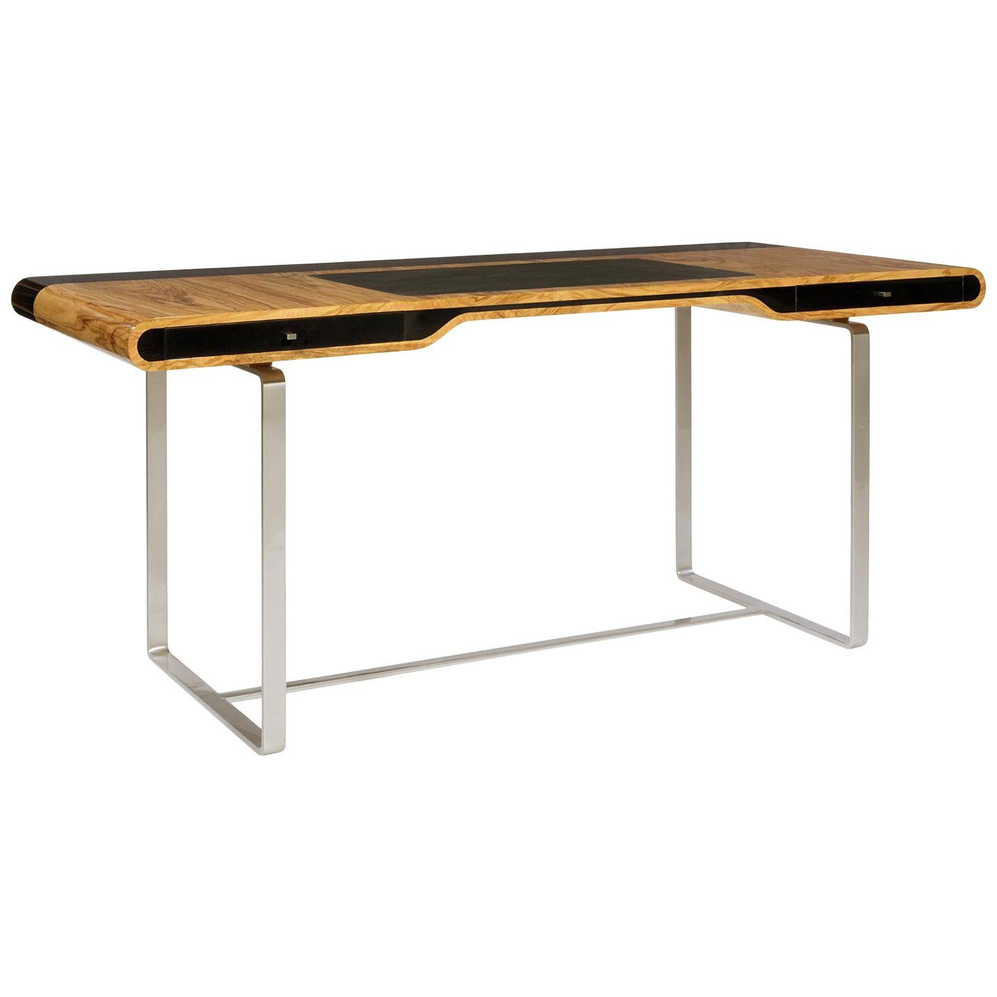 Little Shanghai Desk in Olive Wood and Black Sycamore Silver Painted Leg