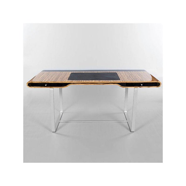 French Little Shanghai Desk in Zebrano Wood and Black Sycomore Silver Painted Leg For Sale