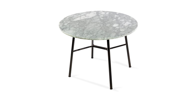 Modern Little Table Yuki, Metal Frame, Round, White Color, Design, Coffee Table, Marble For Sale