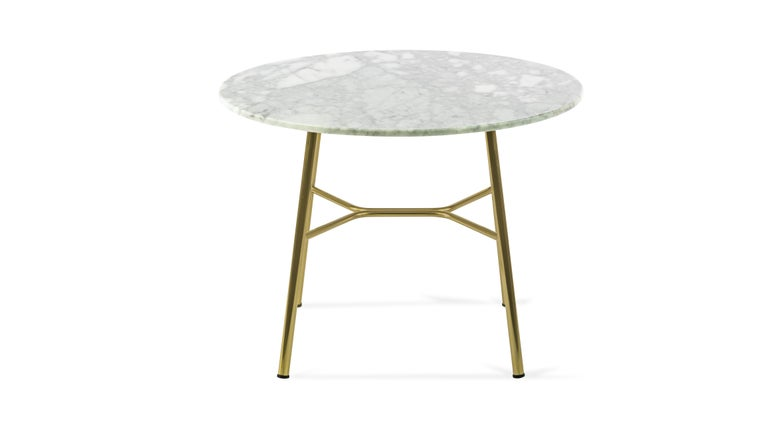 Little Table Yuki, Metal Frame, Round, White Color, Design, Coffee Table, Marble In New Condition For Sale In MARANO VICENTINO, IT