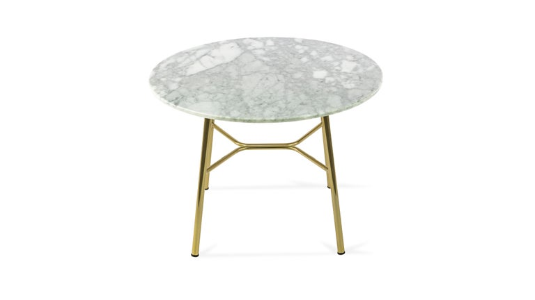 Contemporary Little Table Yuki, Metal Frame, Round, White Color, Design, Coffee Table, Marble For Sale