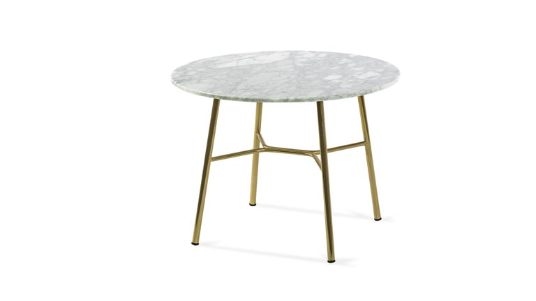 Glass Little Table Yuki, Metal Frame, Round, White Color, Design, Coffee Table, Marble For Sale