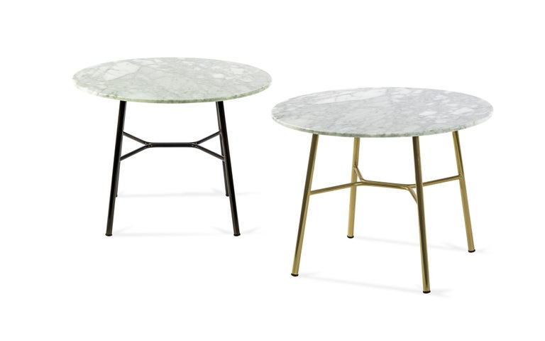 Little Table Yuki, Metal Frame, Round, White Color, Design, Coffee Table, Marble For Sale 1