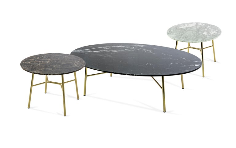 Little Table Yuki, Metal Frame, Round, White Color, Design, Coffee Table, Marble For Sale 2