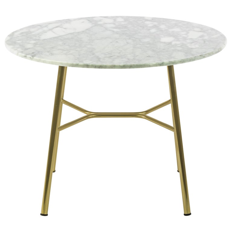 Little Table Yuki, Metal Frame, Round, White Color, Design, Coffee Table, Marble For Sale