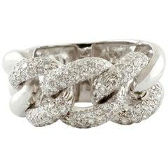 Little White Diamonds, 18 Karat White Gold Groumette Model Ring