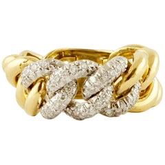 Little White Diamonds, 18 Karat Yellow and White Gold Groumette Model Ring