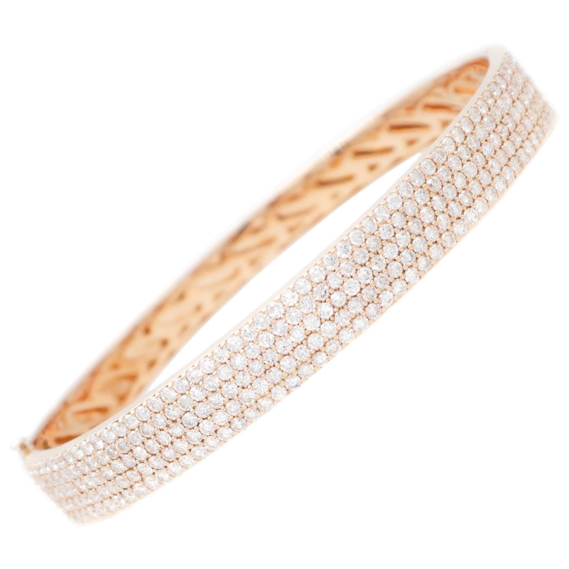 Little White Diamonds, 18kt Rose Gold Bangle Bracelet