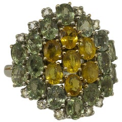 Little White Diamonds Green and Yellow Sapphires White Gold Fashion Ring