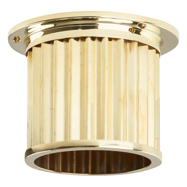 Littleton End Cap Spot Diffuser, Polished Brass Recessed Spot Light Shade For Sale