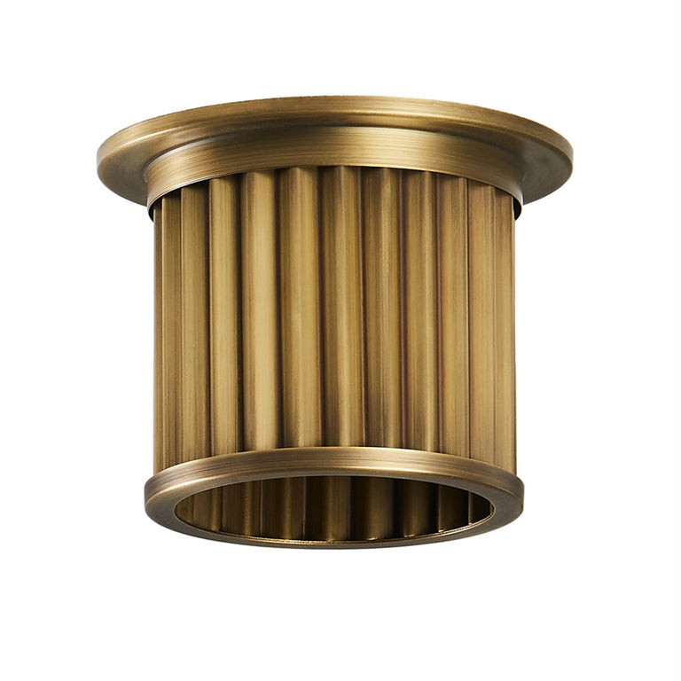 Littleton End Cap Spot Diffuser, Raw Brass Recessed Spot Light Shade For Sale 2