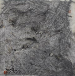 Evening Wind, Contemporary Asian Abstract Painting Grey Ink Art Chinese Paper