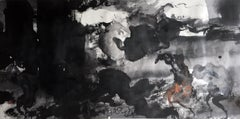 Ghost, Contemporary Asian Abstract Painting Black White Ink Chinese Art Paper